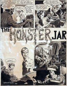 """Forgotten masterpiece: Complete original art by Bernie Wrightson for """"The Monster Jar,"""" an unpublished story intended for the never-released fourth issue of Web of Horror, Author unknown. Comic Book Pages, Comic Books Art, Comic Art, Horror Comics, Bernie Wrightson, Horror Monsters, Ink Master, Bristol Board, Goth Art"""