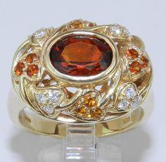 a2f59421531 14K Yellow Gold Diamond   Madeira Orange Citrine