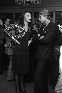 Diane Von Furstenberg and Yves Saint Laurent in 1972. (Is that Karl Lagerfeld in the background?)