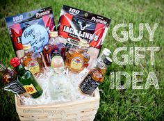 Basket of BOOZE :) Fun GUY birthday gift idea - Father's day, 21st birthday