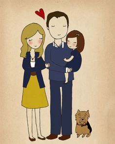 Custom family illustration by Nan Lawson