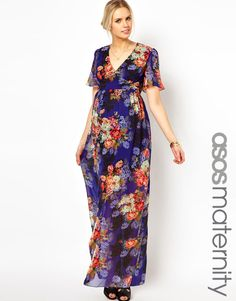 Vestido largo con estampado floral vintage de ASOS Maternity Floral.