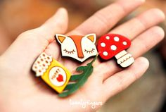 Lovely wooden brooch, set of 3 pieces - laser cut wood. $10.00, via Etsy.