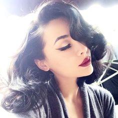 Flicked eyeliner & bold lip