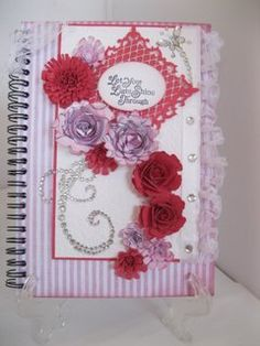 Beautiful Notebook with the addition of Spellbinders Flowers