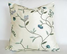 Embroidered Floral Pillow, Light Blue Cream Sage Green Flowers On Creamy White, Luxury Cushion Covers,  Accent Throw Pillow, 18x18, NEW