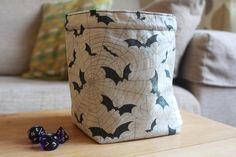 Bats and Cobwebs Drawstring Dice Bag For Tabletop Gamers    #dicebag #giftsforgamers #rpgbag #dndbag #gamebag #boardgamers #boardgameaccessories #carcassonnebag #scrabblebag #rummikubbbag #drawstringdicebag #handmade #dice #gamers