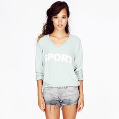 """⚬Wildfox⚬Sporty Fox Baggy Beach Jumper Currently selling for $110+ on other websites! Beautiful jumper perfect for breezy beach nights! Super comfortable & soft! Gorgeous mint green color. Per Wildfox: """"The sport vneck baggy beach jumper is constructed from our most loved vintage varsity fabric: a pre-pilled, worn-in, distressed blend."""" A relaxed fit so could also fit a medium in my opinion. 47%  Rayon, 47% Polyester, 6% Spandex. Brand new with tags. Wildfox Tops"""
