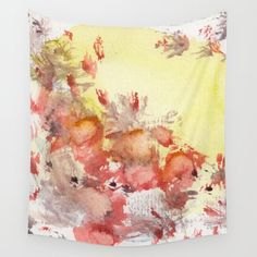 Red Blots in the Sun by StudioRS Designs . Sunny Yellow wall decor tapestry, contemporary, rustic, bright, sunny, poppy, design, poppies, flamingos, abstract