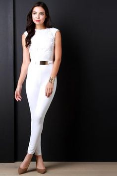 24d9f92f11a9 Burn Out Mesh Gold-Plated Belt Sleeveless Jumpsuit - Gioellia Boutique - 1  Belt
