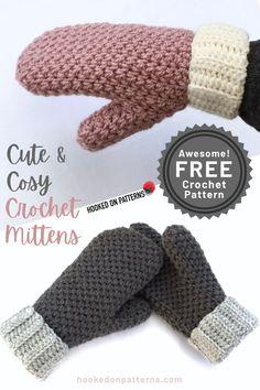 Crochet Mittens Free Pattern, Crochet Adult Hat, Crochet Stitches Patterns, Crochet Hooks, Free Crochet, Crochet Accessories, Crochet Crafts, Barn, Crochet Winter