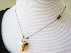 Pyrite Gold Dipped Acorn Bird Oxidized by SiennaGraceJewelry