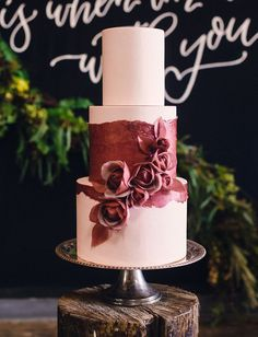 Simple but stunning marsala wedding cake