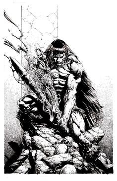 Savage Avengers 3 Cover by David Finch Comic Book Artists, Comic Artist, Comic Books Art, Artist Art, Jim Lee Art, David Finch, Conan The Barbarian, Sword And Sorcery, Human Art