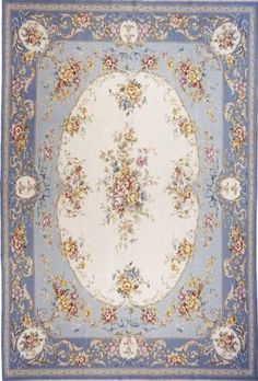 Large Room Size Shabby Chic French Chateau Blue dollhouse area rug