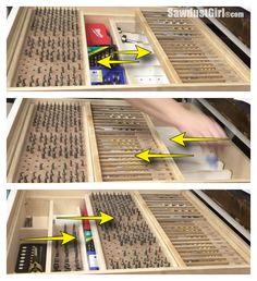 Drill Bit αποθήκευσης συρτάρι Organizer