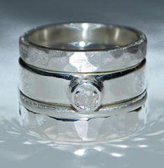 Silver & Diamond Stacking Ring