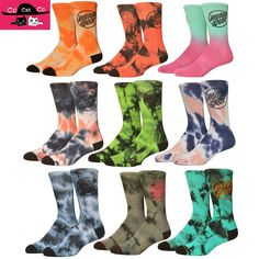 New Tie Dye Santa Cruz Socks Men Pure Cotton Colorful Novelty Basket ball Socks Street Hip Hop Skate Men Skateboard Socks 615