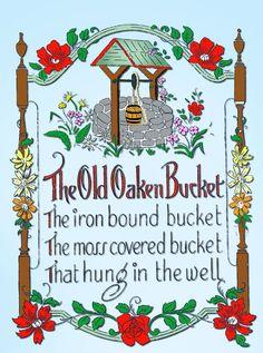 1920s VTG Betty Burton Embroidery Transfer 1972 Uncut Old Oaken Bucket Sampler