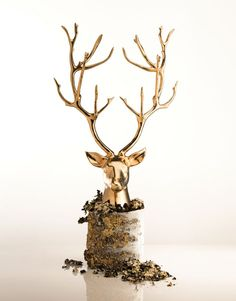 The Gold Stag Bust from the Nima Oberoi Lunares Branches Collection, inspired by the California Manzanita Tree. Perfect addition to your home decor, to be used on display or as a magical jewelry holder.