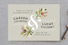 """Floral Ampersand"" - Rustic Save The Date Postcards in Sea Breeze by Jennifer Wick."