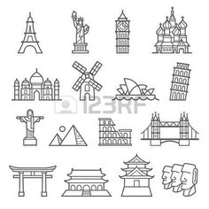 house: Landmark Icons. Statue of Liberty, Tower of Pisa, Eiffel Tower, Big Ben, Taj Mahal, Saint Basils Cathedral, Christ The Redeemer, Windmill, Sydney Opera House, Piramid, Colosseum, London Bridge, Fushimi Inari Shrine, Forbidden City, Osaka Castle, Moai Sta