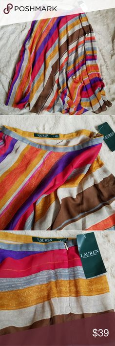 "NWT Lauren Ralph Lauren flowy striped maxi skirt NEW with tag! Could be worn as a midi or maxi skirt depending on your height. Airy chiffon is cut on the bias + fully lined; hidden side zip. A bit of the seam (white thread) is exposed beneath the waistband + near the bottom of the zipper, but stitching is intact. Colors: grey, brown, mustard, violet, red, orange, raspberry. Shell 100% polyester, lining 100% polyester. Flat waist 14.5"", length 35"".  Make an offerBundle & save Lauren Ralph…"