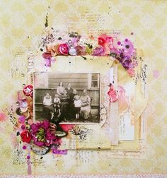 Mixed Media layout by Kasia Krzyminska for Live with Prima using Prima stamps and flowers