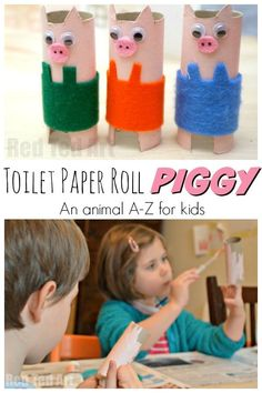 Toilet Paper Roll Pig Craft - Red Ted Art - Make crafting with kids easy & fun Abc Crafts, Easy Arts And Crafts, Letter A Crafts, Preschool Crafts, Kids Crafts, Cardboard Tube Crafts, Toilet Paper Roll Crafts, Paper Crafts, Animal Crafts For Kids