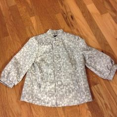 Beautiful natural mix color with metallic spirkle Very stylist cut blazer. 3/4 sleeves. 100 % polyester George Jackets & Coats