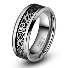 8Mm Silver Celtic Dragon Tungsten Carbide Ring Men Jewelry Wedding Band All Size