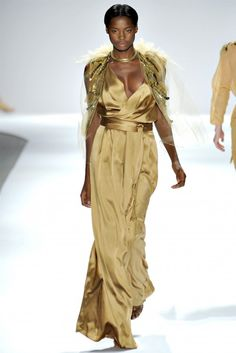 Beautiful model from Jamaica in a gorguous satin dress at the Jamaican Spring Fashion Show 2012