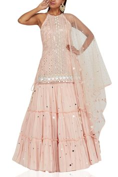 Blush pink kurta gharara set designed by Monika Nidhii at AASHNI+CO.