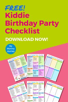 This is a free kiddie birthday party checklist to help you plan your child's party. It comes with a filled-in birthday party checklist of the items you will need. It has a birthday party timeline checklist to help you keep up with what needs to be completed weeks or days before and on the day of the party. And it also has a blank kiddie birthday party checklist for your brainstorming ideas. This free printable comes in full color and simple white ground to save on printer ink. Download now!