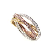 Triple Tone, Triple Band Diamond Wedding Band, Anniversary Ring, Cocktail Ring, Rose Gold, Yellow Gold, White Gold on Etsy, $1,550.00