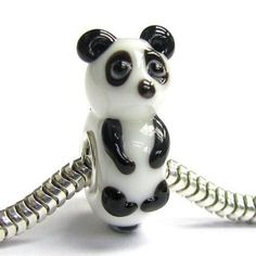 Sitting Panda Bear Lampwork Glass Bead Charm by ArmCandyCompany