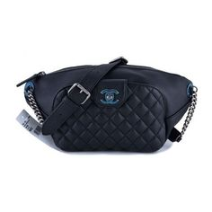 Pre-Owned Nwt 16s Chanel Black Calfskin Quilted Classic Fanny Pack Bag ($3,499) ❤ liked on Polyvore featuring bags, black, chanel bags, hologram bag, belt bag, bum bag and strap bag