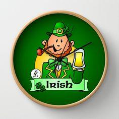 St. Patrick's Day Wall Clock by Cardvibes - $30.00 #Cardvibes #Tekenaartje #Society6 #Ireland #Irish
