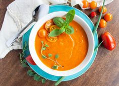 This soup is light, fresh and the perfect recipe to usher in the warming flavours of fall. Dairy Free, Gluten Free, Roasted Tomato Soup, Sprout Recipes, Perfect Food, Sprouts, Curry, Stuffed Peppers, Vegan