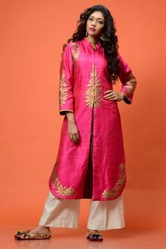 Alluring Pink raw silk Kurta Jacket Set front-open jacket with golden embroidery on the yoke and borders teamed up very well with simple white pants by AMBRISH DAMANI Shop now-www.carmaonlineshop.com