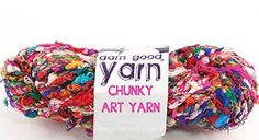 Darn Good Yarn, Penny Candy Chunky Recycled Silk Yarn, 20 Yards, Multicolor, 200 Grams, 1 Skein