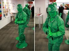 How to make a green army man costume. How to make a green army man costume.