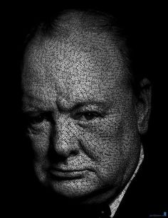 Winston Churchill with his famous quote all over his face
