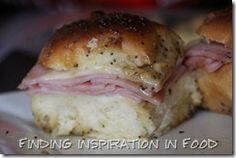 Sweet Ham and Swiss Sliders. I use Hawaiian rolls and no brown sugar. A treat!