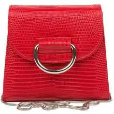Little Liffner Red Lizard Embossed Saddle Bag (€340) ❤ liked on Polyvore featuring bags, handbags, shoulder bags, red handbags, red purse, embossed purse, lizard handbag and embossed handbags
