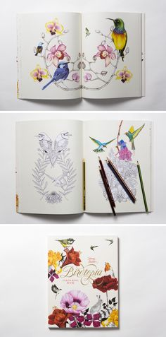 """Birdtopia"" is a beautiful coloring book by Daisy Fletcher Designs, filled with illustrations of surreal, natural, and feminine motifs."