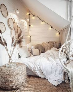 Bohemian Minimalist with Urban Outfiters Bedroom Ideas : Bedroom decor; modern bed room decor ideas on a budget; Cute Bedroom Decor, Room Ideas Bedroom, Bedroom Furniture, Furniture Ideas, Bedroom Inspo, Teen Bedroom Inspiration, Attic Bedroom Decor, Attic Inspiration, Attic Bedroom Designs