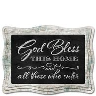 "Wood Framed ""God Bless  THIS HOME and all those who enter"" Chalkboard Sign"