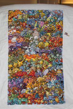 Epic Pokémon Gen I Cross Stitch Took me a year and half to complete!  Not my design
