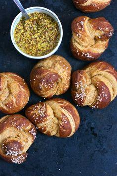 Sweet Potato Pretzel Knots with Sweet Curried Mustard